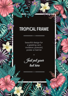 Frame template with tropical green leaves