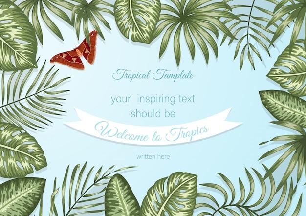 熱帯の葉と青い背景にアトラス蛾のフレームテンプレート。テキストのための場所を持つ水平レイアウトカード。