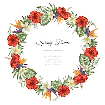Frame template with tropical leaves and flowers on white background.