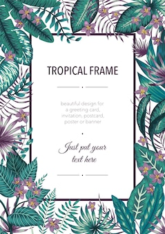 Шаблон рамки с тропическими бело-фиолетовыми листьями