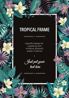 Frame template with tropical white and purple leaves