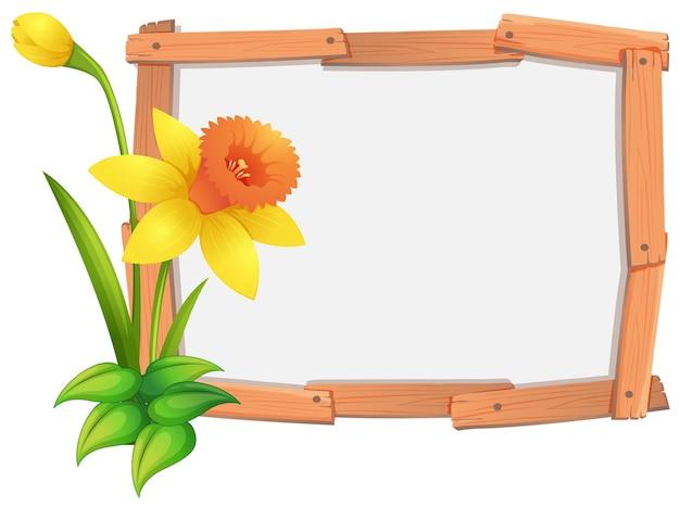 Шаблон рамки с желтыми цветами нарцисса