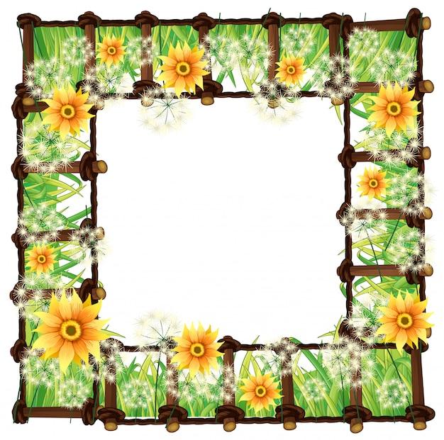黄色い花を持つフレームテンプレート