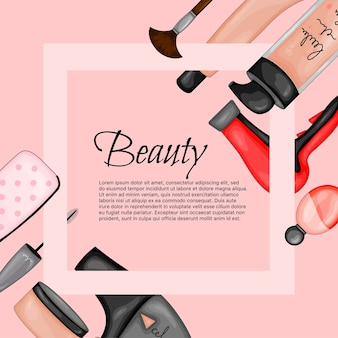 Frame for text with a set of beauty items. cartoon style. vector illustration.