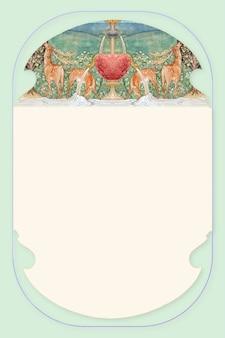 Рамка вектор, олень у фонтана, ремикс из винтажных работ сэра эдварда коли бёрна - джонса