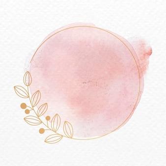 핑크 식물 장식 수채화 스타일의 프레임 벡터