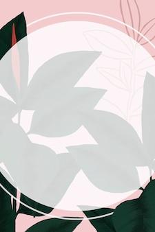 프레임 벡터 고무 공장 열 대 잎 식물 그림