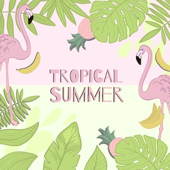 Frame vector tropical summer. green leaves, flamingo, banana, pineapple.