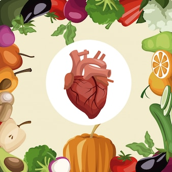 Frame vegetables and fruits healthy food to heart organ