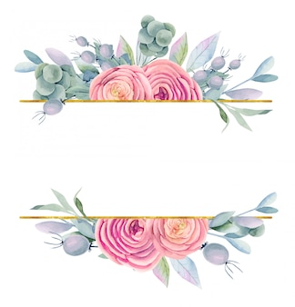 Frame of watercolor beautiful roses, green leaves and berries in purple, golden and pink shades