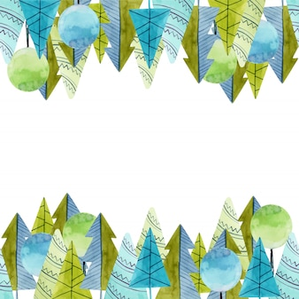 Frame of watercolor simple trees and spruces