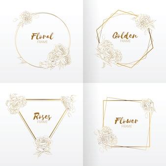 프레임 결혼식 꽃 장식 handdrawn 장미 꽃
