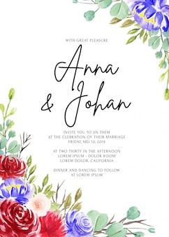 Frame wedding invitation card template beautiful flower watercolor