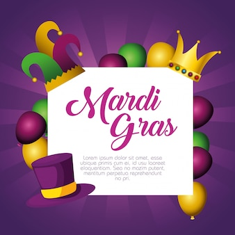 Frame with balloons and crown with card template for mardi gras