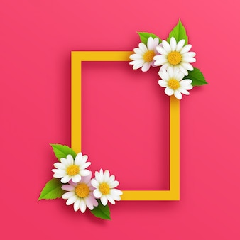 Frame with beauty white flower design
