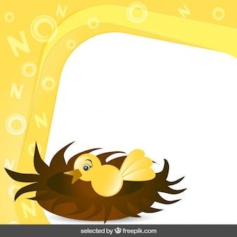 Frame with bird in nest