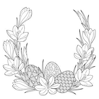 Рамка с черно-белыми каракули пасхальных яиц