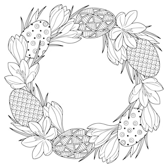 Frame with black and white doodle easter eggs and spring crocus flowers