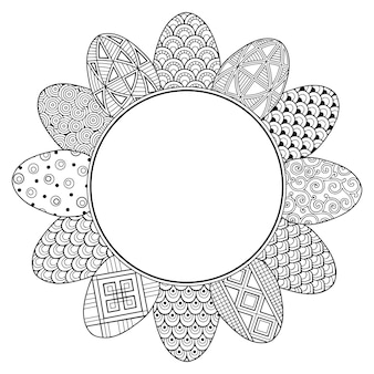 Frame with black and white doodle easter eggs
