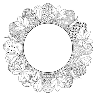 Frame with black and white doodles easter eggs and flowers