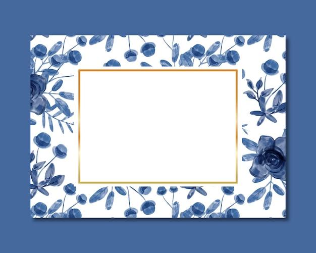 青い花の水彩画のシームレスなパターンとフレーム
