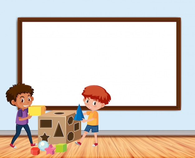 Frame with board and boys playing