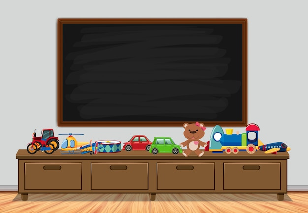 Frame  with board and toys