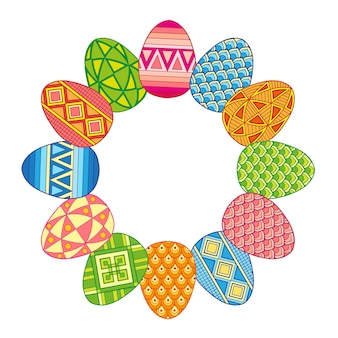 Frame with bright easter eggs isolated on white