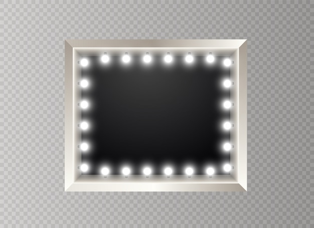 Frame with bulbs. illuminated banner  on transparent background.glowing lights billboard for advertising .