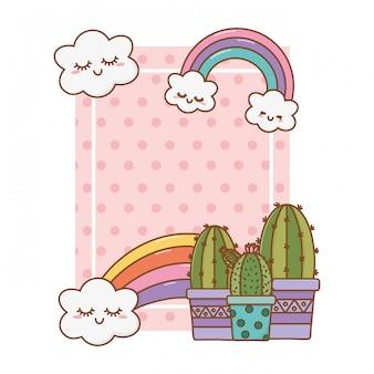 Frame with cactus rainbow cloud