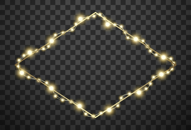 Frame with christmas lights on transparent background