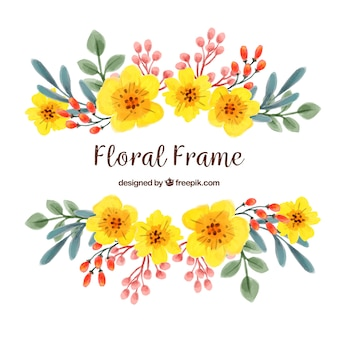 Frame with colorful flowers