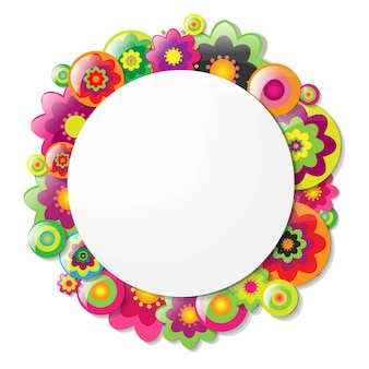 Frame with colorfull flowers
