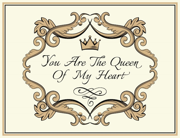 Frame with crown and text in antique royal style