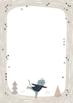 Frame with cute cat ice skating.