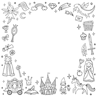 Frame with cute fairytale and magic objects