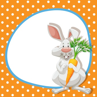 Frame  with cute rabbit and carrot