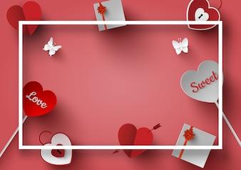 バレンタインデーの装飾付きフレーム