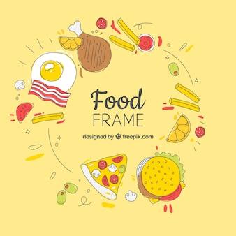 다른 음식과 프레임
