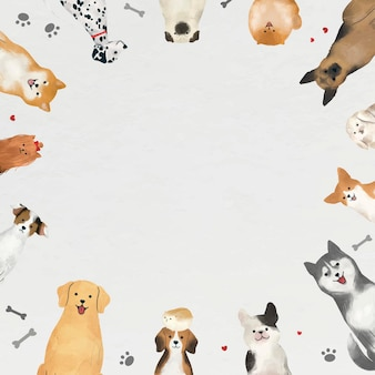 Рамка с собаками на белом фоне