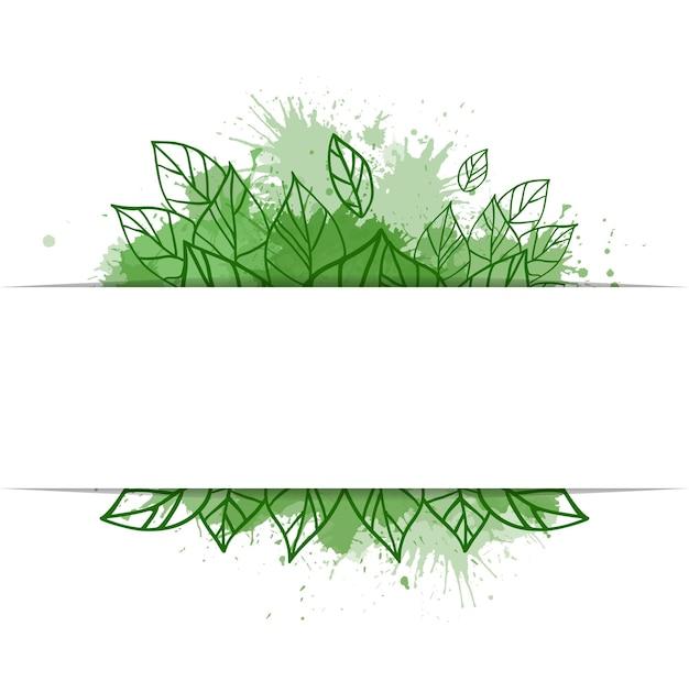 Рамка с зелеными листьями болвана и акварельным спреем и копией пространства. эко жизнь