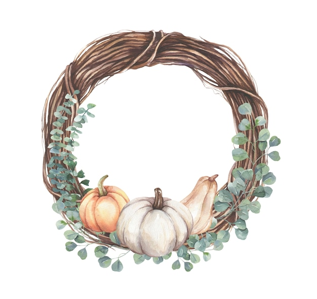 Frame with eucalyptus leaf branches, pumpkins.