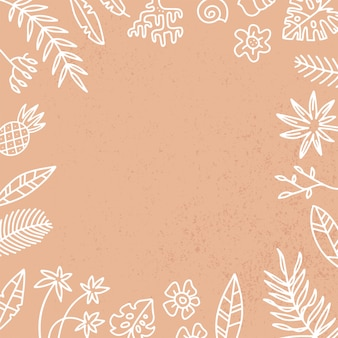 Frame with exotic palm leaves and flowers. hand drawn recipe or menu, social media background. white linear illustration in doodle style on sand textured background