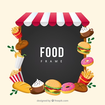 Frame with fast food