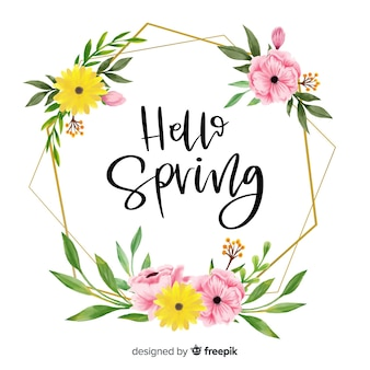 Frame with floral design and hello spring greetings