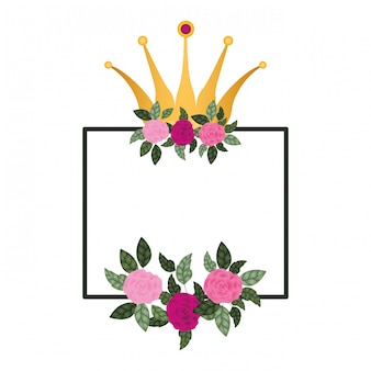 Рамка с цветами и короной, изолированных значок