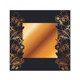 Рамка с цветами и листьями золотая