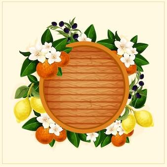 Рамка с цветами, апельсинами и декоративной бочкой