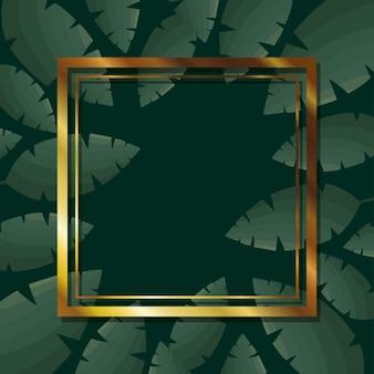 Frame with gold color over a green leaves illustration design