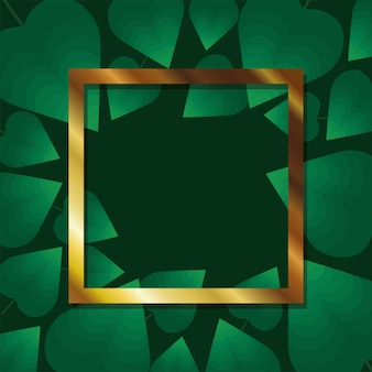 Frame with gold color on a green leaves illustration design